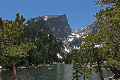 Bear Lake area, west end of the trail at Emerald Lake. Hallett Peak (12,217') is behind the ridge in the distance.