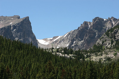 Bear Lake area, from Bear Lake looking west toward Emerald Lake at foot of the distant saddle in the center.
