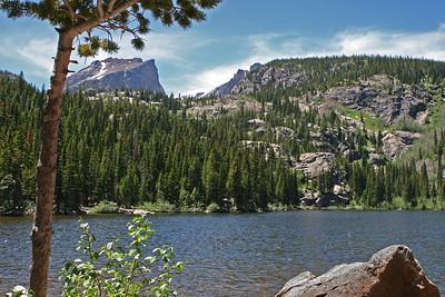 Bear Lake area, Bear Lake looking west toward Emerald Lake at foot of the distant sharp ridge.