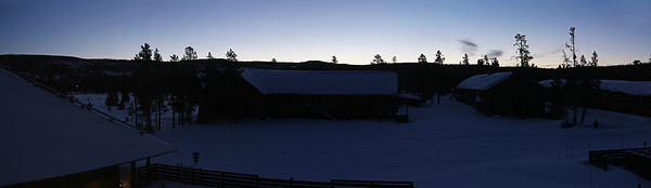 Zephyr Adventures. February 18, 2014. Sunrise from the Snow Lodge, Yellowstone National Park.