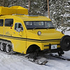 Zephyr Adventures. February 18, 2014. Bombardier snowcat, at the Continental Divide, Yellowstone National Park.