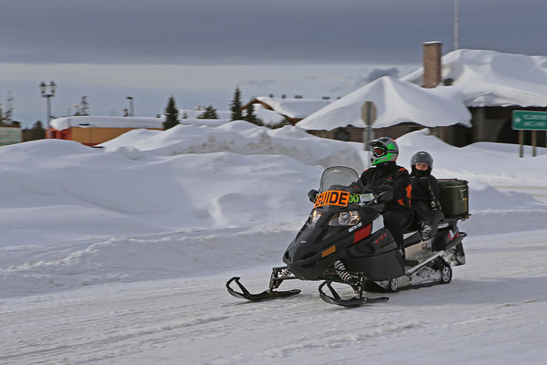 Zephyr Adventures. February 17, 2014. Snow mobile tour group required official lead guide heading for Yellowstone National Park. West Yellowstone, MT.