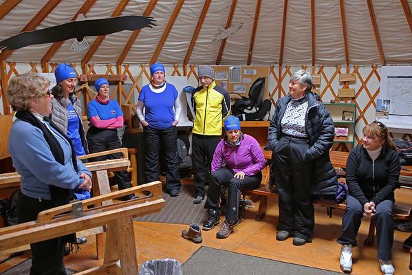 Zephyr Adventures. February 16, 2014. Yurt at Lone Mountain Ranch, Big Sky, MT. L-R: Cindy Anderson, Sonya Mapp, Rhonda Jarrett, Deborah Sanders, Tony Santucci, Linda Jellison, Debra Vaughn, Susan Henderson.