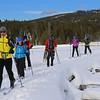 Zephyr Adventures. February 17, 2014. Trail from Castle Geyser, Upper Geyser Basin, Yellowstone National Park. L-R: Tony Santucci, Rhonda Jarrett, unknown, unknown, Linda Jellison, Cindy Anderson.