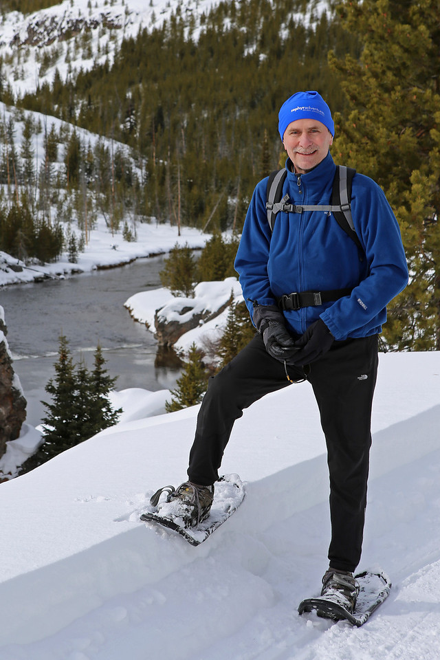 Zephyr Adventures. February 17, 2014. Snowshoeing on Firehole Canyon Drive along the Firehole River south of Madison, Yellowstone National Park. Rick Otis.