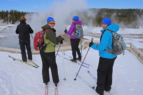 Zephyr Adventures. February 17, 2014. Crested Pool, Upper Geyser Basin, Yellowstone National Park. L-R: Susan Henderson, Cindy Anderson, Linda Jellison, Rhonda Jarrett.