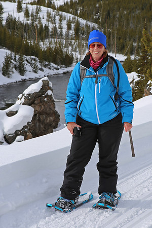 Zephyr Adventures. February 17, 2014. Snowshoeing on Firehole Canyon Drive along the Firehole River south of Madison, Yellowstone National Park. Rhonda Jarrett.
