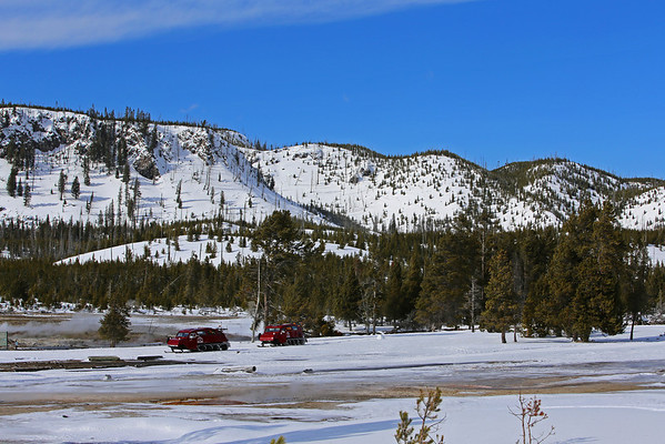Zephyr Adventures. February 17, 2014. Parking for the Mystic Falls Trail, Upper Geyser Basin along the Firehole River, Yellowstone National Park.