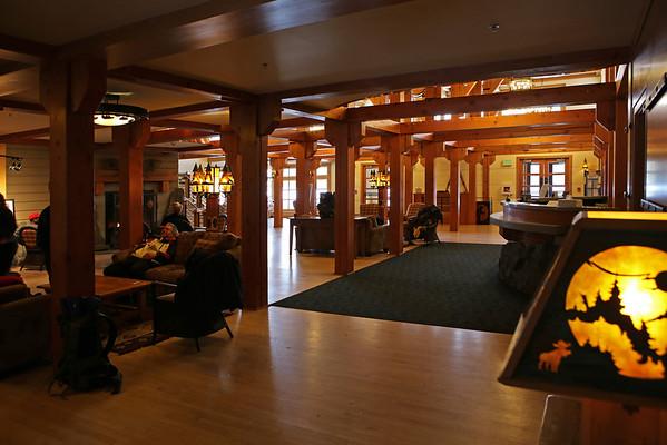Zephyr Adventures. February 19, 2014. Lobby, Snow Lodge, Yellowstone National Park.