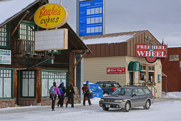 Zephyr Adventures. February 17, 2014. Heading to pick up skiing gear at Free Heel and Wheel, West Yellowstone, MT.
