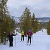 Zephyr Adventures. February 17, 2014. Loop Trail, Upper Geyser Basin, Yellowstone National Park. L-R: Debra Vaughn, Tony Santucci, Kris Thomas Keys.