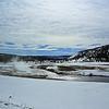 Zephyr Adventures. February 17, 2014. Midway Geyser Basin thru the van windows along the Firehole River, Yellowstone National Park.