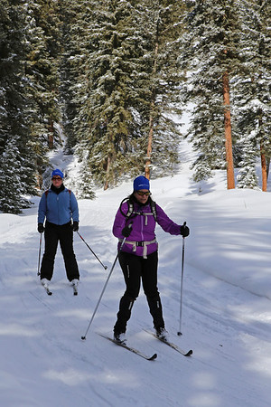 Zephyr Adventures. February 16, 2014. Lone Mountain Ranch, Big Sky, MT. L-R: Cindy Anderson and Linda Jellison.