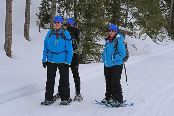 Zephyr Adventures. February 17, 2014. Snowshoeing on Firehole Canyon Drive along the Firehole River south of Madison, Yellowstone National Park. L-R: Deborah Sanders, Kris Thomas Keys, Rhonda Jarrett.