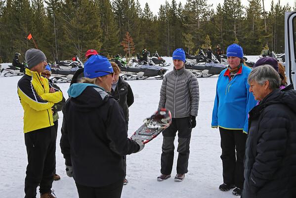 Zephyr Adventures. February 17, 2014. Snow shoe instructions. Madison, Yellowstone National Park. L-R: Tony Santucci, Cindt Anderson, Kris Thomas Keys, Micheal Henderson (behind), Susan Henderson, Sonya Mapp, Deborah Sanders, Debra Vaughn.