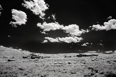 Infrared photo at Bodie State Park, California showing the Standard Stamping Mill in the background.