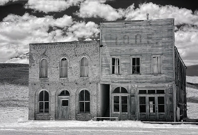An infrared photo of the post office and the IOOF hall at Bodie State Park, California.