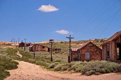 At the corner of Green and Wood Street in Bodie State Park, California.