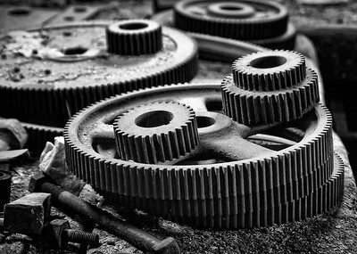 Gears in the machine shop of the Standard Stamping Mill at Bodie State Park, California.