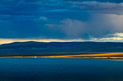 Light from the setting sun on the eastern shore of  Mono Lake, California.