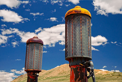 Gasoline pumps at Bodie State Park, California.