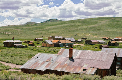 A view of Bodie from the location of the Standard Stamping Mill. Bodie State Park, California.