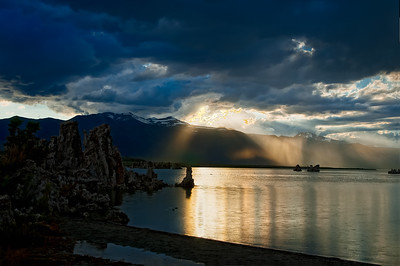A rainstorm on the western shore of Mono Lake, California just before sunset.