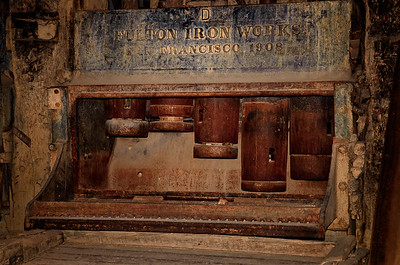 The stamping mill was used to crush the silver and gold containg rock into a fine powder. After stamping the powder was mixed with water and flowed across a bed of mercury to separate the silver and gold from the rock dust. Standard Stamping Mill, Bodie State Park, California.