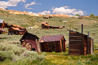 Looking up at Bodie Ridge from near the corner of Main and Green Streets -  Bodie State Park, California.