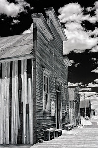 An infrared photo of the Miners Union hall on Main Street in Bodie State Park, California.