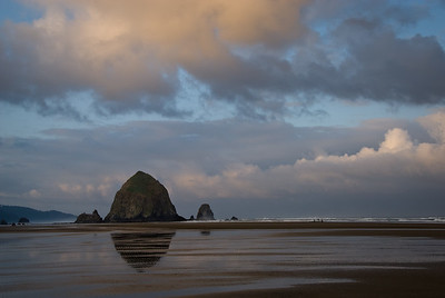 View of Haystack from the north at sunrise-Oregon-Cannon Beach