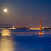 Golden Gate Bridge with full moon