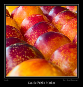 Nectarines for sale at a vendor inside the Seattle Public Market