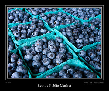 Blueberries for sale at a vendor inside the Seattle Public Market