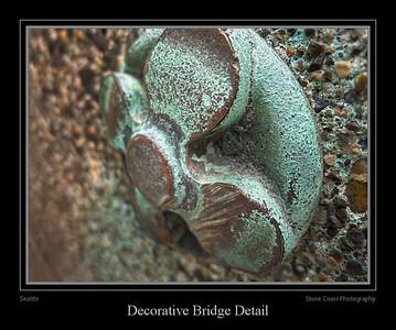 Decorative details on a bridge north of the Seattle Aquarium.