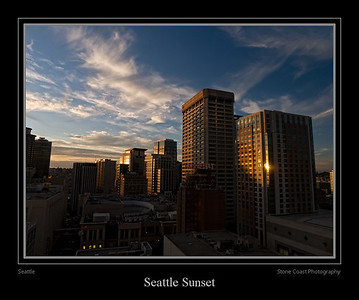 Seattle sunset seen from the downtown Sheraton Hotel.