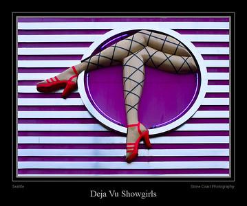 Sign at Deja Vu Showgirls in Seattle, Washington.