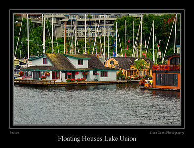 Floating Houses Lake Union in Seattle.