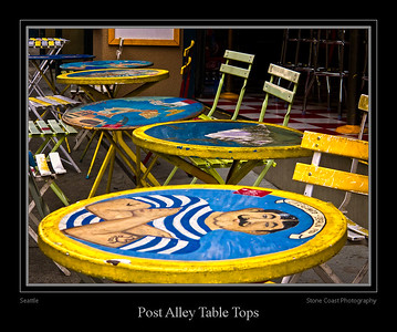 Painted table tops in Post Alley near the Seattle Public Market.
