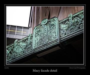 Seattle Macy's facade detail.