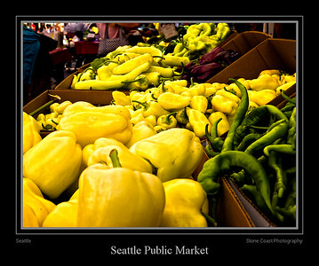 Peppers at a vendors stall inside the Seattle Public Market