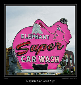 The Battery Street Elephant Car Wash's rotating neon elephant is a Seattle landmark.