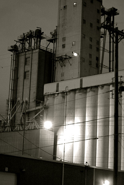 Grain elevator at dusk - Wichita, Kansas