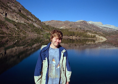 Jacob near the high eastern entrance of Yosemite National Park.  Shortly after entering the park you drive by a nice roadside lake. I've never been able to resist water reflections.