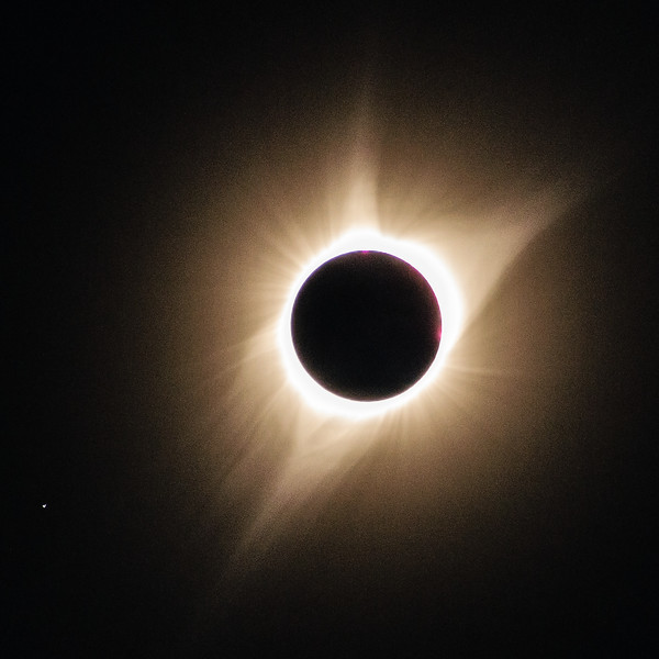I didn't try and photograph my first total solar eclipse but this time I fired off a few 300mm handheld telephoto shots just to see what might come up. The result was better than I expected.