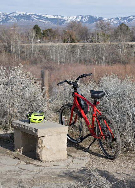 Red Rover parked by a Hyatt Hidden Lakes Park bench. For the longest time mountain bikers annoyed me but my recurrent plantar fasciitis is making me reconsider.