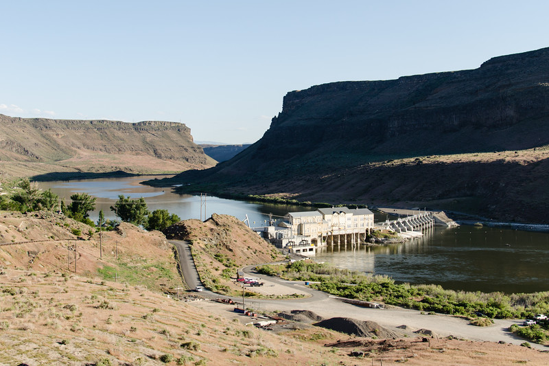 The Swan Falls Dam on the Snake River in afternoon light. This small dam was the first hydroelectric dam built on the Snake River. The original dam dates to 1901.