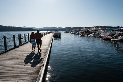 Walking the Coeur d'Alene floating boardwalk.
