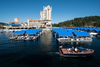 The late afternoon view from the Coeur d'Alene Resort boat bridge.