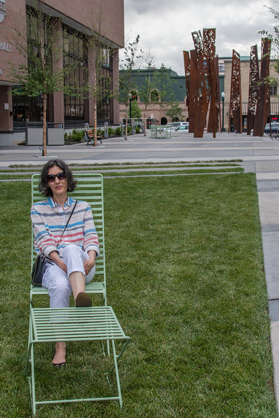 Mali trying out the lawn furniture in front of Boise's City Hall.